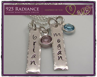 Hand Stamped birthstone Jewelry- rectangle charms-Sterling Silver Personalized- TAGGED WITH CRYSTALS