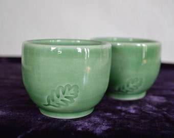 pottery cups, drinking cups, tea cups, wine cups, sake cups, espresso cups, drinkware, tea, green cups, green pottery, tea pot