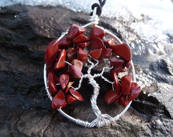Wire-wrapped Tree of Life Pendant with Red Jasper Gemstone Chips