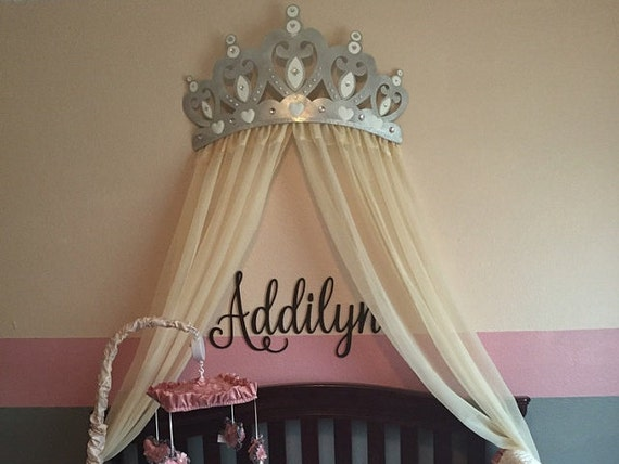 Bed Canopy Crown Wall Decor In Silver With White Sheer Panels
