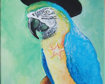 ORIGINAL PAINTING - Quick Draw Macaw #2- There's a new sheriff in town - Macaw Painting
