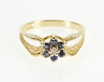 14K Sapphire Diamond Flower Cluster Statement Ring Size 6.5 Yellow Gold