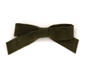 School Girl OLIVE SUEDE Leather Bow Clip Adorable Photo Prop for Newborn Baby Little Girl Child Adult Headwrap Spring Summer Pretty Bow
