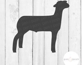 Show Lamb SVG - Show Sheep SVG - Lamb Clipart - 4H Market Lamb - Market Lamb SVG - Ffa Lamb - Silhouette, Cricut - Show Lamb