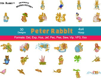 30 Beatrix Potter Peter Rabbit Embroidery Designs, Peter Rabbit Embroidery, Storybook Embroidery, Instant Download