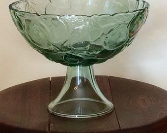Vintage Pedestal Fruit Bowl, Green Fruit Patterned Glass