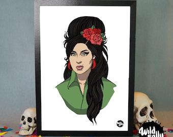 Amy Winehouse portrait / portrait of Amy Winehouse. Print. Blade.