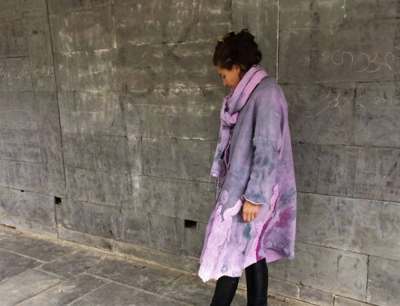 coat fashion Double felted Eco Jacket made coat purple sided Clothing art Felted gray Designer Nuno Wearable Hand frOqXargc