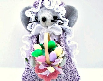 Easter Felt Mouse Egg Basket Mouse  Easter Gift Pastel Mice