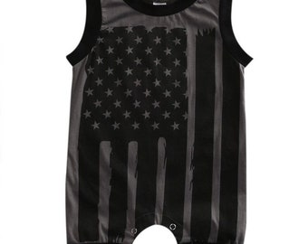 24 month Sleeveless black flag romper