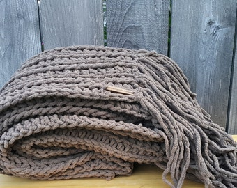 Bulky Knit Blanket | Taupe Throw | Chunky Blanket | Chunky Throw With Fringe | Brown Blanket | Chunky Knit Throw | Made To Order