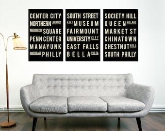Philadelphia, Subway Sign, Typography Art, Philly, City Poster, Home Decor, Christmas Gift, Anniversary Gift, Wedding Gift, House Gift