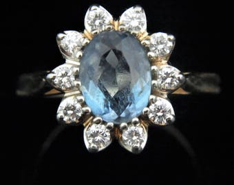 Estate Diamond Blue Gemstone 14k Yellow Gold Halo Ring Estate Floral LAYAWAY AVAILABLE