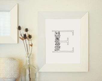 Floral Letter E - Monogram Wall Art Printable - Floral Typography Print - Botanical Gallery Wall Art