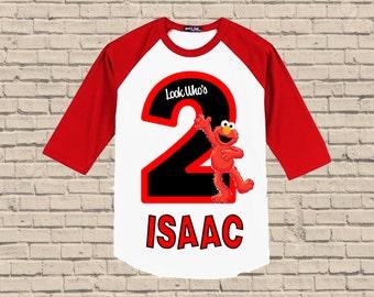 Elmo Birthday Shirt - Raglan Shirt Available
