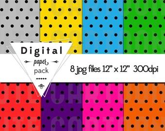 Polka dot Paper Pack - 8 Printable Digital Scrapbooking Papers - 12 x 12 - 300 DPI - INSTANT DOWNLOAD