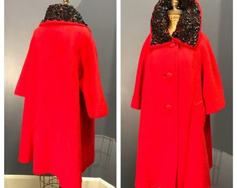 CARDINAL RED 1950's 1950s Vintage 1960's 1960s Fur Felt Holiday Swing Designer Lilli Ann Car Coat w Sequined Soutache Portrait Collar M L Xl