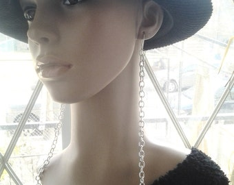 Long Dangling Silver Color Chain Womens Earring, Long Earrings, Dangling Earrings, Womens Jewelry, Handmade Jewelry