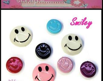 Set of 8 smiley multicolored scrapbooking embellishments