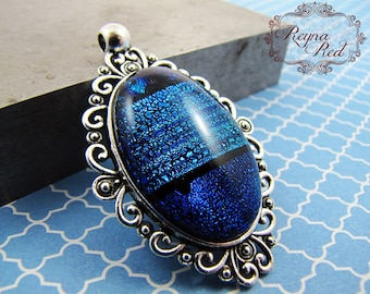 Infinitus Dichroic Oval Pendant, wire wrapping, blue pendant, green shimmer focal, jewelry making, beading supply - reynaredsupplies