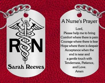 Personalized NURSE Steel Keychain with Nurse's Prayer, Laser Engraved Gift