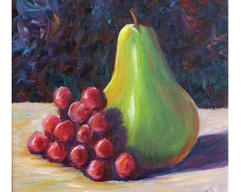 Grapes and Pears Still Life, Fruit Painting, Grape Painting, Pear Painting, Red Grapes, Purple Grapes, Pear, Black Background, Helen Eaton