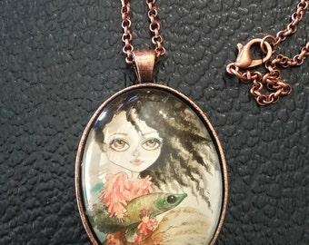 Fantasia Necklace Fantasy Face Pretty Girl Pendant Big Eye Pendant