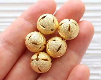 5pc round shimmer gold metal beads, hammered gold metal beads, textured gold beads, necklace beads, matte gold beads, boho rustic ball beads