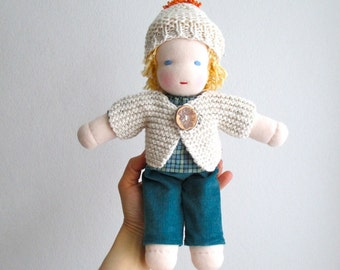 Waldorf doll boy 12 inch, organic, blue, turquoise, blond hair, blue eyes, child gift, toddler, Steiner, made to order