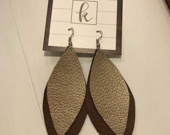 Faux Leather Double Earrings Small