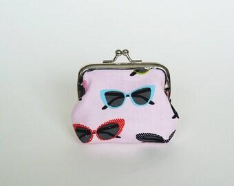 Coin purse, sunglasses fabric, multi colour 1950s sunglasses design, cotton purse