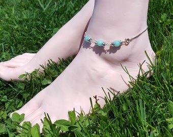 Blue Anklet gold ankle bracelet Summer outdoor party Sexy girlfriend bridesmaid gift beach wedding jewelry Bolo adjustable foot bracelet