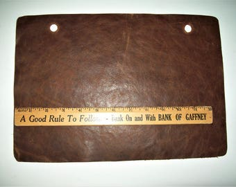 distressed brown leather 9x13