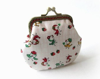 Frame coin pouch, cute birds with strawberries cotton fabric, bronze kiss lock clasp, metal change purse
