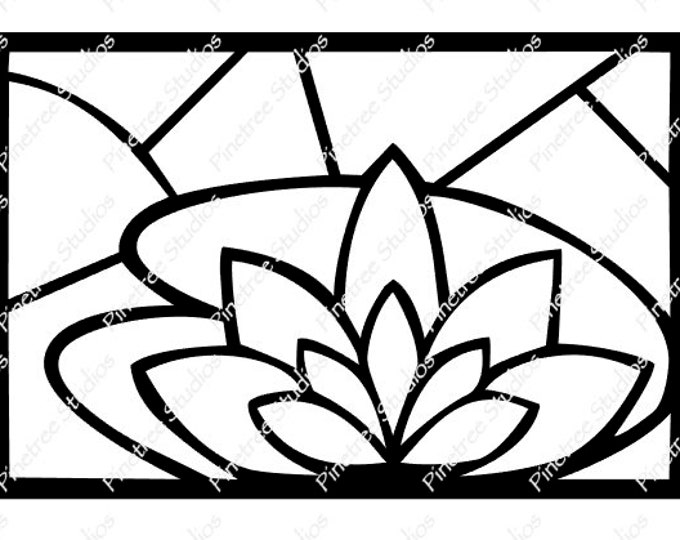 Stained Glass Waterlily SVG Digital Download / Cuttable / Clip Art / Stencil / Silhouette / Cricut / Printable / Color Book / Decal