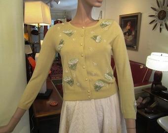 Vintage Lemon Drop Yellow Silk Beaded Cardigan Sweater, ca 1950s