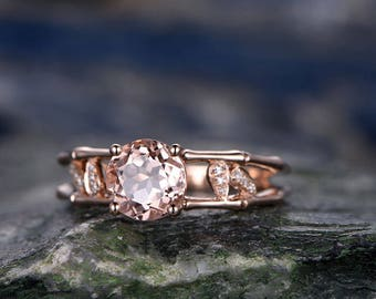 7mm Round Morganite engagement ring-Solid 14k Rose gold ring-Real Diamond ring-Art Deco gemstone Floral promise ring-Split shank