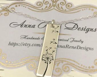 Dandelion Necklace with Vertical Bar Pendant and Hand Stamped Dandelion in Sterling Silver, 14k Gold Filled or 14k Rose Gold Filled