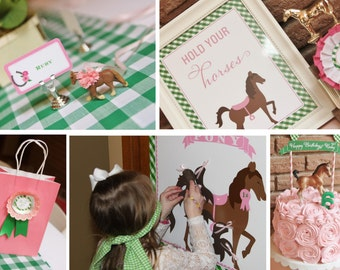 WHOLE SET Fresh Pink & Green Equestrian Pony Party Printable Invitation  - Horse -  Gingham - A Pony Tale