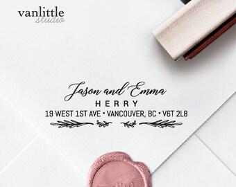 Return Address Stamp, Custom Self-Inking Stamp, Self Ink Return Address Stamp, Rubber Wood Stamp, Wedding Stamp, Ship from the U.S., PS59