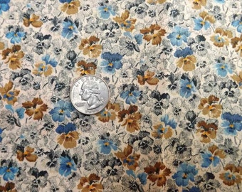 Cotton Fabric Calico Print  Country Blue Brown Pansy Yardage