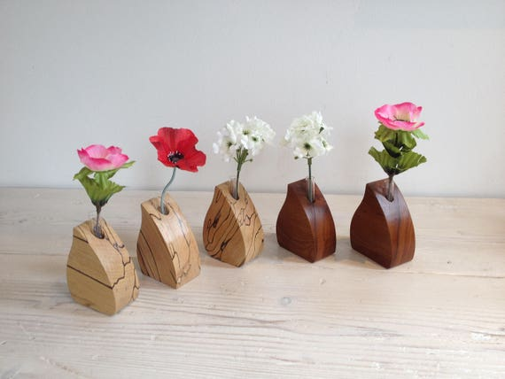 Wooden Flower Vase Single Stem Vase Wedding Vase Glass Test