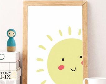 Yellow Sun Printable Poster | smile sun print , Kids Room Poster, Cute Children Poster, Nursery Poster, artprintsfactory FILE DOWNLOADABLE