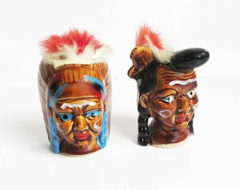 Kitschy Mid Century Indian Head Ceramic Salt & Pepper Shakers, Native American