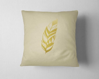 Decorative Pillow, Gold Feather, Throw pillow, Feather pillow, Home decor, Living room decoration, housewarming Gift, Metallic Pillow