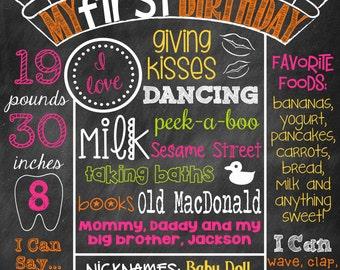 Fall Birthday Chalkboard Poster Sign Chevron Fall Chalk Girl Pumpkin