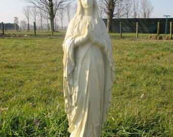 "Large White Virgin Mary Madonna Plaster Church Chapel Statuette Lovely 25.39"""
