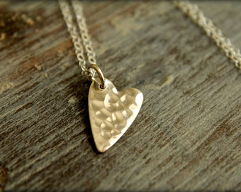 Hammered Heart Necklace in Sterling Silver