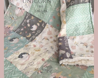 Sweet Dreams Unicorn Baby Bedding, Unicorn Crib Quilt, Unicorn Nursery, Girl Baby Bedding Unicorn, Home and Living, Unicorn Blanket, Bedding