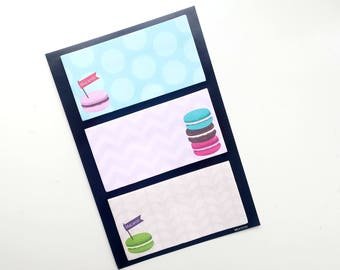Macaron sticky notes set, 3 different designs | bookmarks | page flags | macarons
